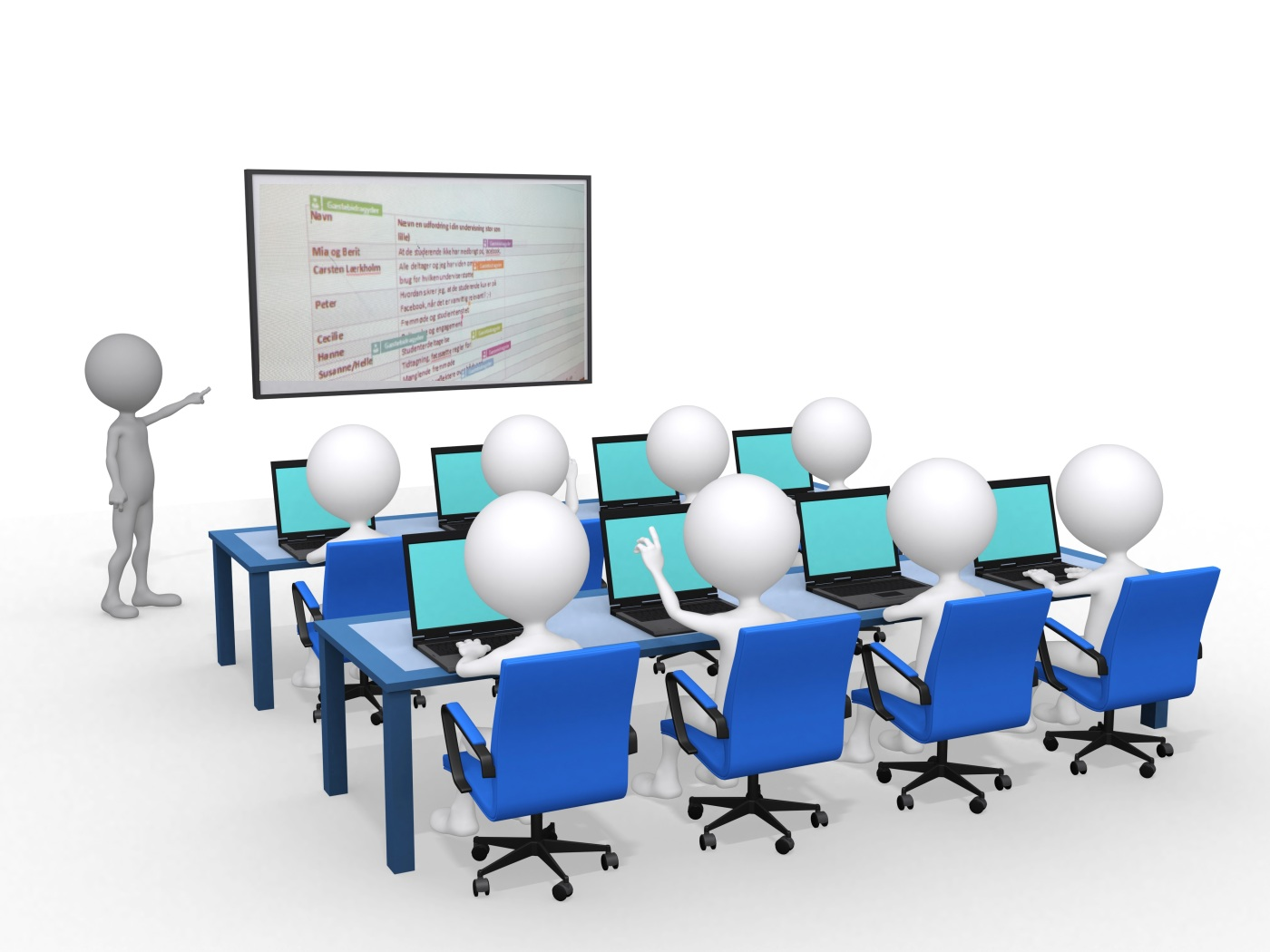3d person with pointer in hand close to board, concept of education and learning, 3d render illustration